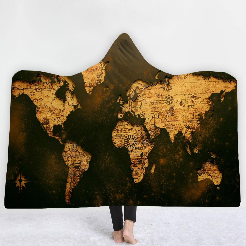 World Dark Green Map 3D Hooded Blanket 3