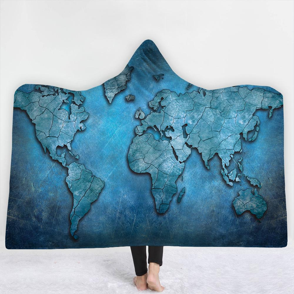 World Light Blue Map 3D Hooded Blanket 6