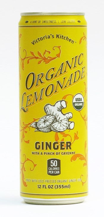 organic ginger lemonade 12oz pack of 12 - Victorias Kitchen Almond Water