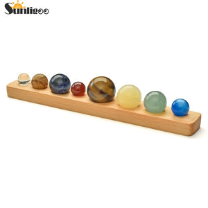 Sunligoo Solar System 8 Planets Crystal Sphere Ball Collective Figurines Handmade Natural Stone Wooden Stand Planets Home Decor