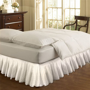 White Beige Embroidered Bed Shirts without Surface Elastic Band Bed Skirt 37cm Height Bed Apron for Wedding Home Use Queen Size
