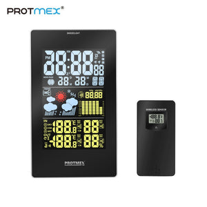 Color Weather Station, Protmex 3352C Digital Weather Forecast Station Hygrometer LCD Color Display With Outdoor Sensor