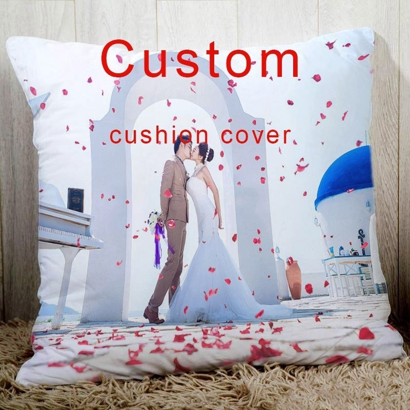 Custom cushion cover with your wedding pictures,Choose Your Text Logo or Image 18
