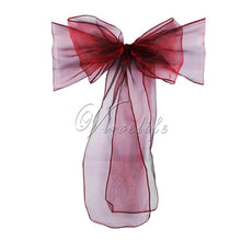 Load image into Gallery viewer, 100pcs Organza Chair Sashes Chair Bows Wedding Party Event Xmas Banquet Decor Sheer Organza Fabric 18cm x 275cm