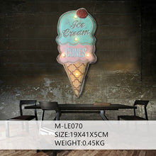 Load image into Gallery viewer, Ice Cream Cones LED Light Neon Sign Vintage Home Wall Hanging Decor Metal Signs Advertising Signboard For BAR Cake Bakery Shop