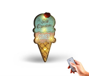 Ice Cream Cones LED Light Neon Sign Vintage Home Wall Hanging Decor Metal Signs Advertising Signboard For BAR Cake Bakery Shop