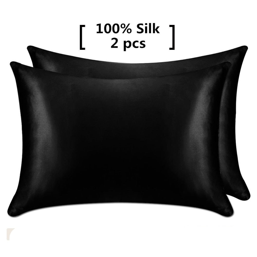 1 Pair 100% Mulberry Silk Pillowcase with Hidden Zipper Nature Pillow Case for Healthy Standard Queen King Free Shipping