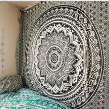 Load image into Gallery viewer, Black Wall Tapestry Mandala Printed Bohemian Rectangular Tapestry Wall Hanging Bedspread Shawl Ethnic Art Decoration Tapestrys