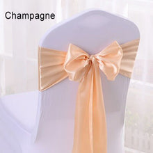 Load image into Gallery viewer, Cheap 25pcs/lot 16*275cm Satin Bow Tie Chair Sash Band For Hotel Banquet Wedding Party Decoration Red/Blue/Yellow Multi Color