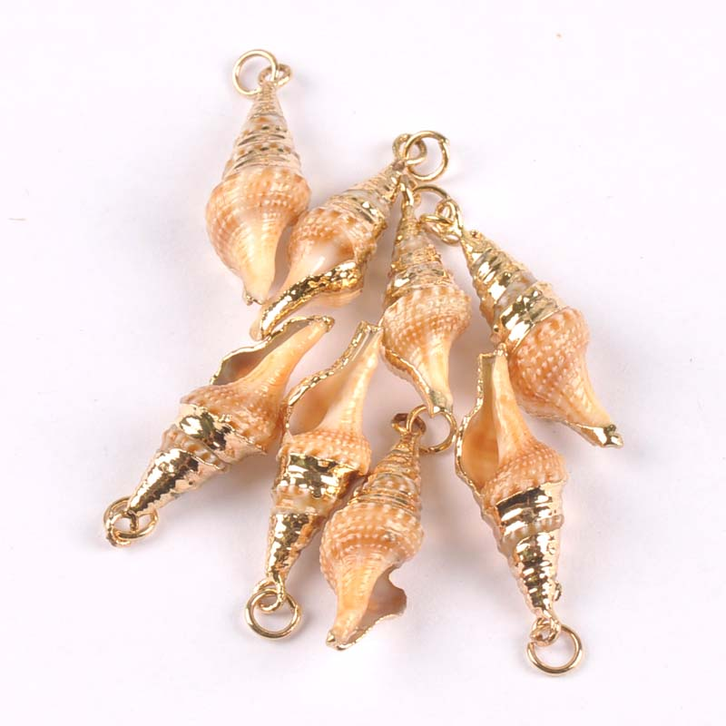7x30mm Natural Beige Spiral Shell Gold Plated for DIY handmade pendant SeaShells Home decoration 5pcs TRS0265