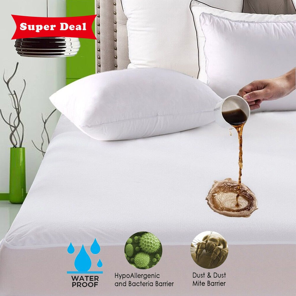Turetrip Smooth Waterproof Mattress Cover Anti Mites Mattress Pad Bed Cover Waterproof Bed Sheet Bed Bug Proof Mattress Topper