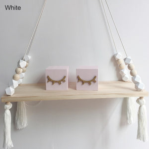 Room Storage Organization Wooden Beads Tassel Wall Shelves Wall Hanging Decor Creative Kids Room 1 Pcs Home Decor Ornaments