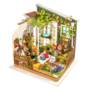 Robotime Home Decor Figurine DIY Miller Garden Wood Miniature Doll House Modern Decoration Accessories Dollhouse for Gift DG108