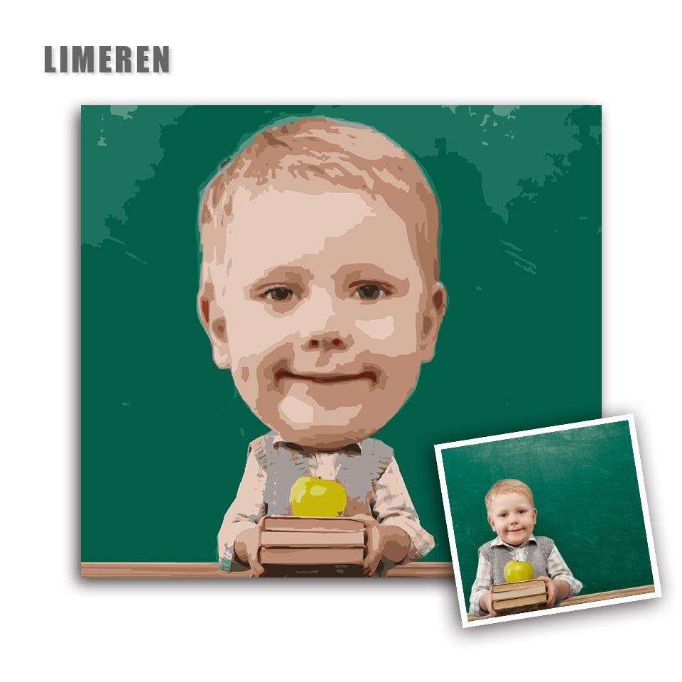 Personality Photo Customized Your Own DIY Oil Painting By Numbers Big Head Dolls Children Photos Drawing Canvas Pictures