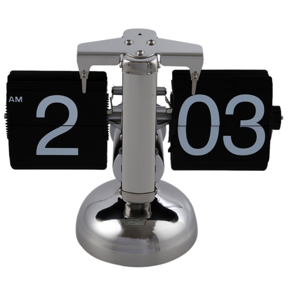 Black Retro Flip Down Clock-Internal Gear Operated Flip Home Clock USA Shipping
