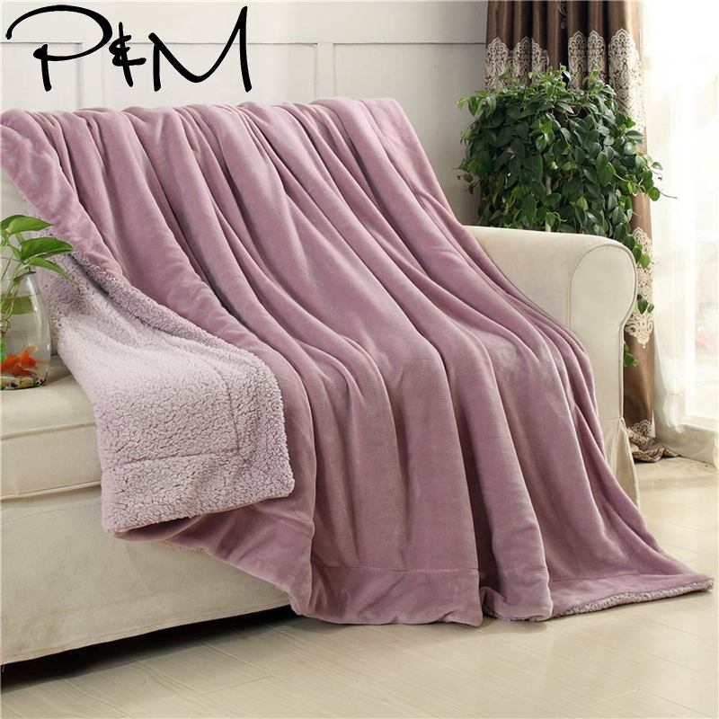 Papa&Mima thick Throw Blanket warm Sherpa Bedding  Plaids Solid Color S M L size