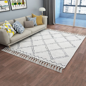 Morocco Style Handmade Geometric Plaid Pattern Living Room Rug Turkey Beige White Home Decoration Bedroom Carpet With Tassel