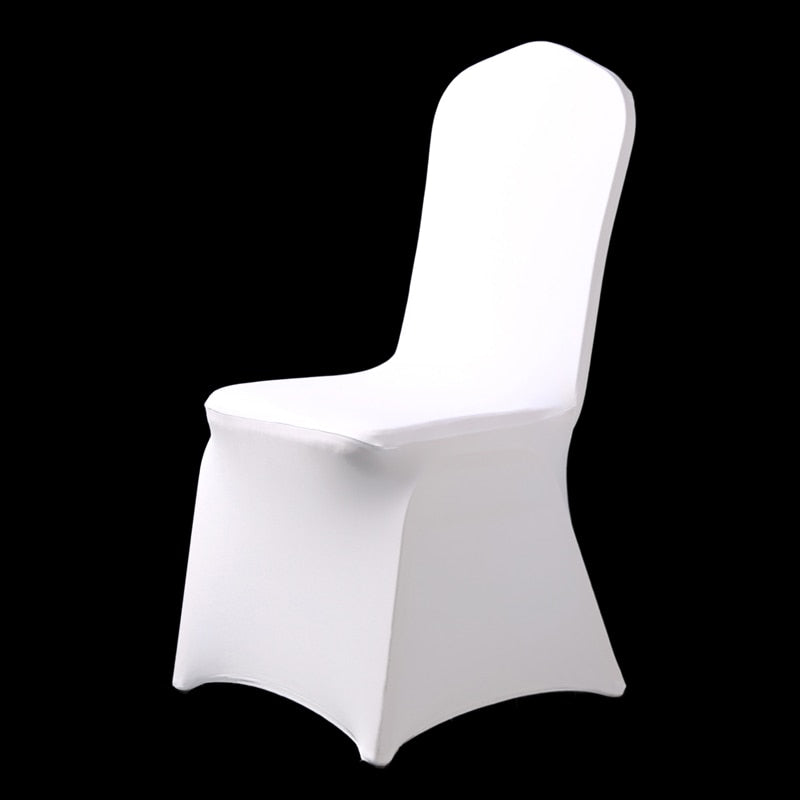 HOT 100pcs Universal Hotel Spandex White Chair Cover Lycra Weddings Chair Covers Party Dining Christmas Event Decor Seat Cover