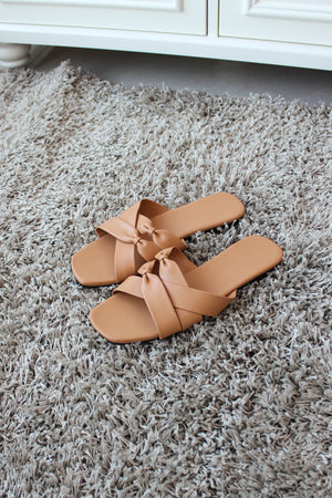 HAELY Bow Flat Sandals - Tea
