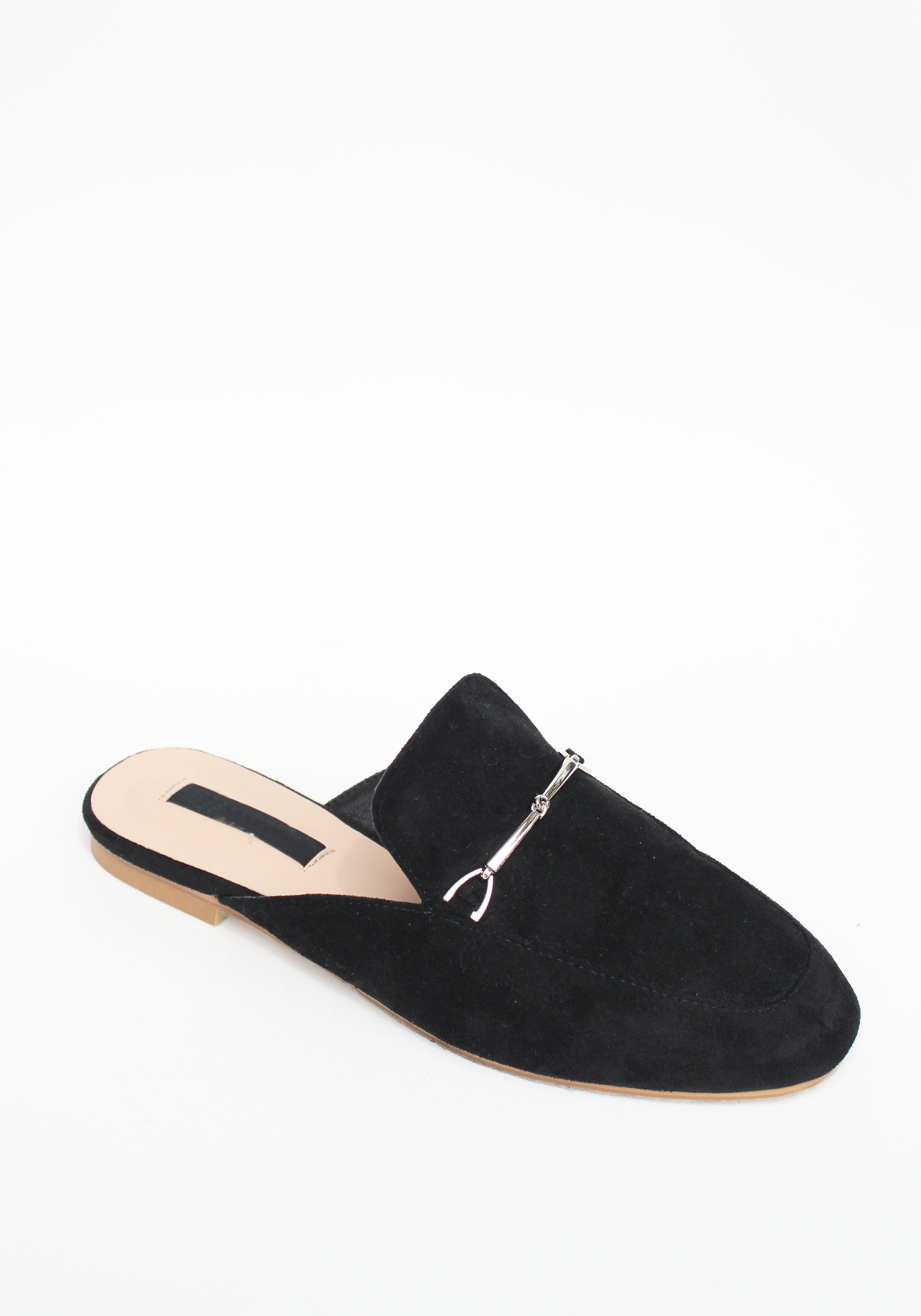 ADRIENN Mule Loafers - Black