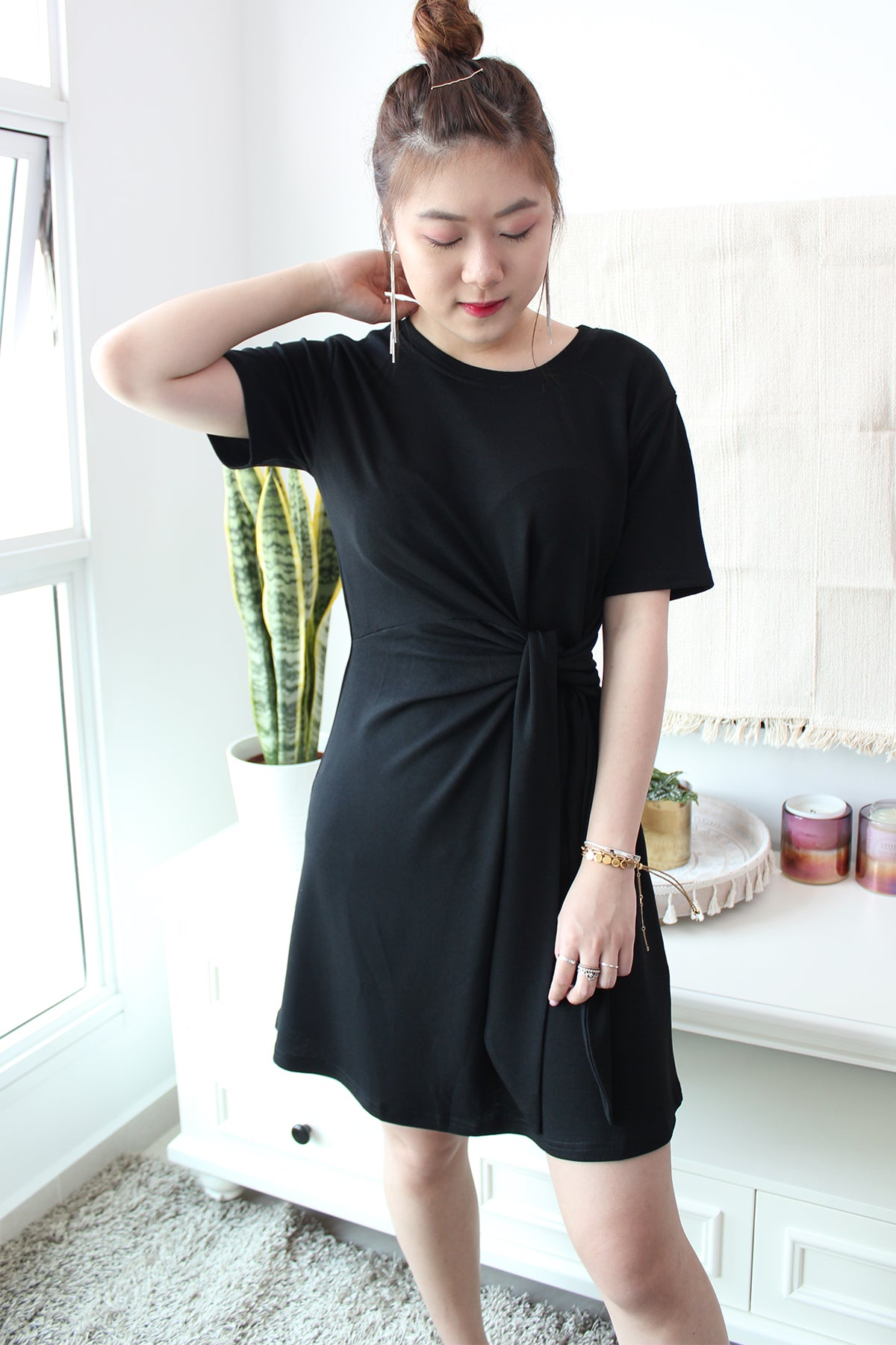 FAE Jersey Tie Wrap Dress - Black