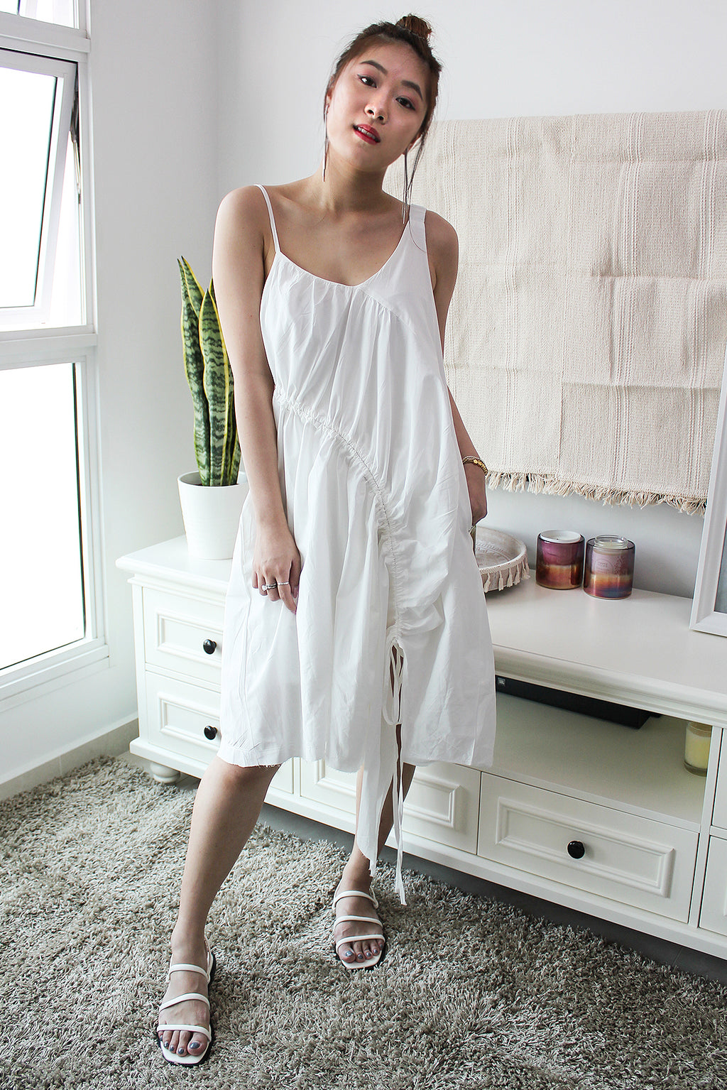 ACACIA Asymmetric Drawstring Dress - White