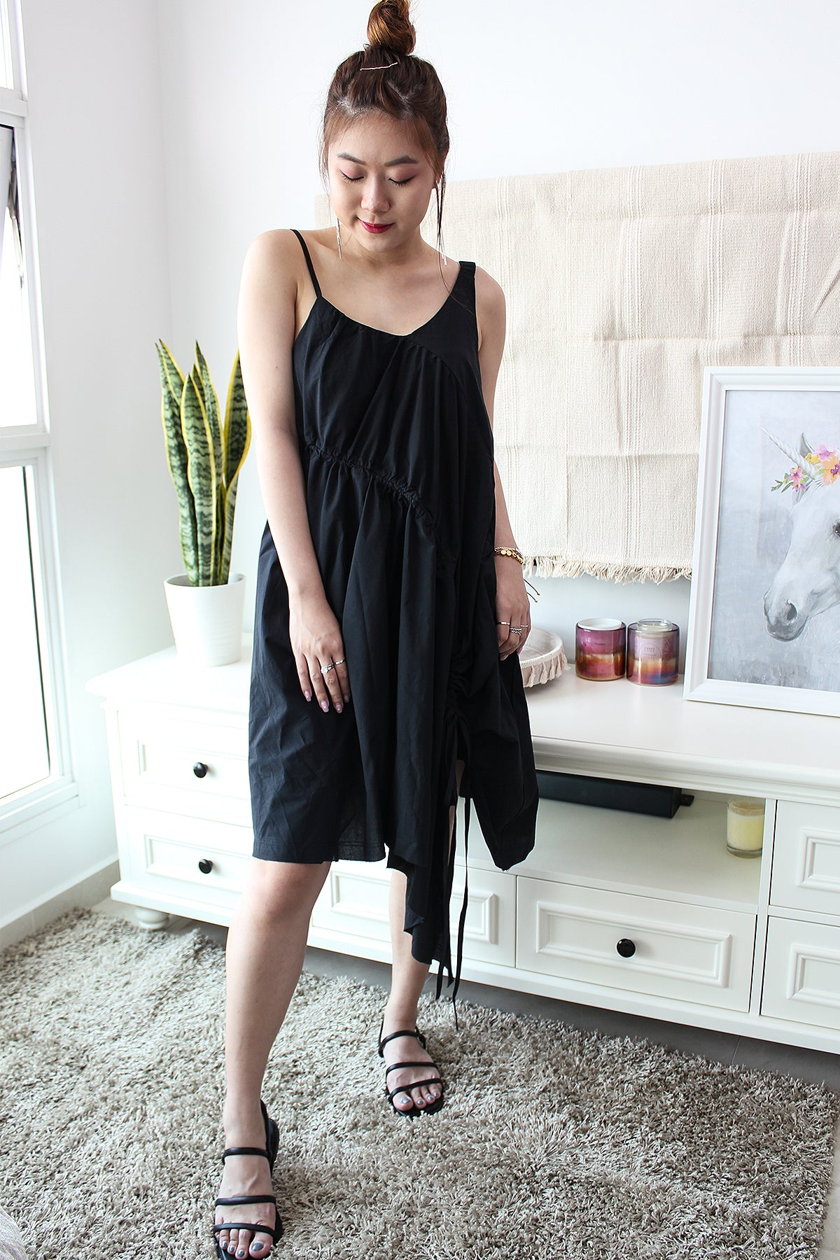 ACACIA Asymmetric Drawstring Dress - Black