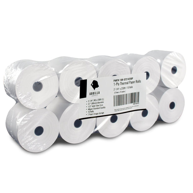 (10) 2-1/4 x 230ft 1ply Thermal Paper Rolls, 10Rolls Sealed Pack