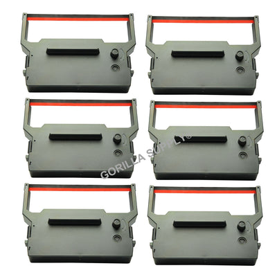 6Pk Citizen Ink Ribbon IR61 Black Red For Citizen IR-61 BM337 BR337 DP600