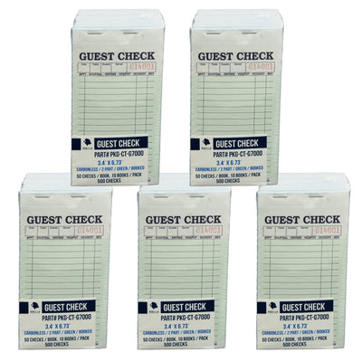 2500 Guest Check CT-G7000 2 Part Carbonless, Perforated, Green, 3.4 x 6.73