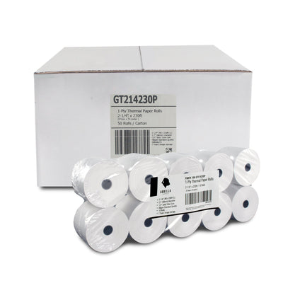 (50) 2-1/4 x 230ft 1ply Thermal Paper Rolls, 50Rolls Case