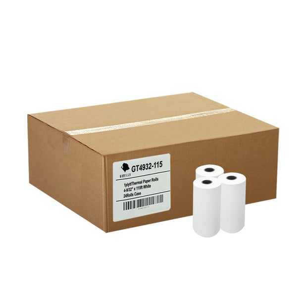 (24) 4-9/32 x 115' 1-Ply Thermal Paper Rolls