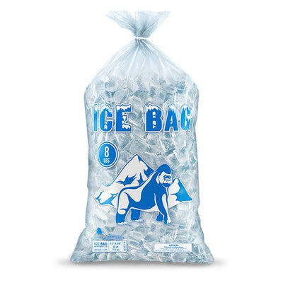 Bagtron 100 Ice Bags 8LBS 11 x 20 BPA Free, LLDPE, Clear with Twist Tie