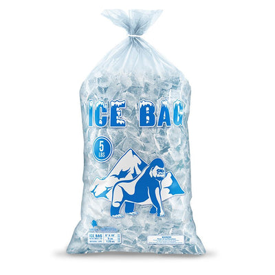 Bagtron 1000 Ice Bags 5LBS 9 x 18 BPA Free, LDPE, Clear with Twist Tie