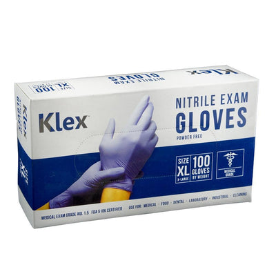 Klex Nitrile Exam Gloves - Medical Grade, Powder Free, Latex Rubber Free, Disposable, Food Safe, Lavender XL Extra Large