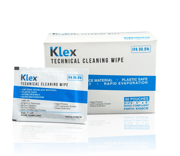 Klex Presaturated 99.9% IPA Cleaning Wipe - 50 Pouches
