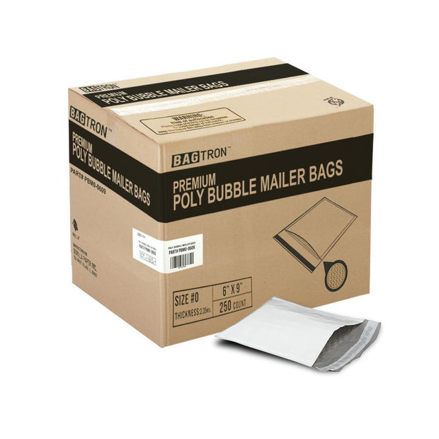 "250 Bagtron #0 Poly Bubble Mailer Bags 6"" x 9"" Shipping Envelopes Grey 2mil"