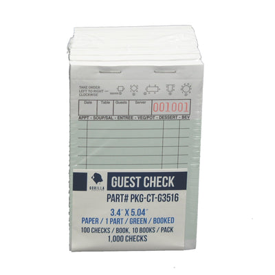 1000 Guest Check PKG-CT-G3516 Single Part Bond, Perforated, Green, 3.4 x 5.04