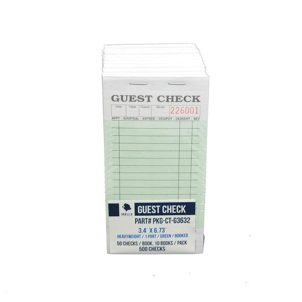 500 Guest Check PKG-CT-G3632 Heavyweight 1 Part, Perforated, Green, 3.4 x 6.73