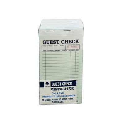 500 Guest Check PKG-CT-G7000 2 Part Carbonless, Perforated, Green, 3.4 x 6.73