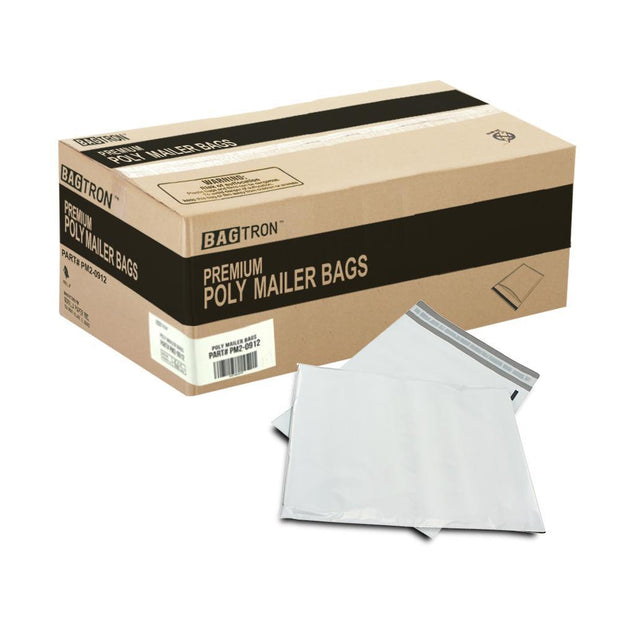 "1000 Bagtron #2 Poly Mailer Bags 9"" x 12"" Shipping Envelopes Grey 2mil"