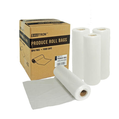 Bagtron Produce Bag Rolls, Fruits and Veggies, 12x20, 1520 bag BPA Free, Clear