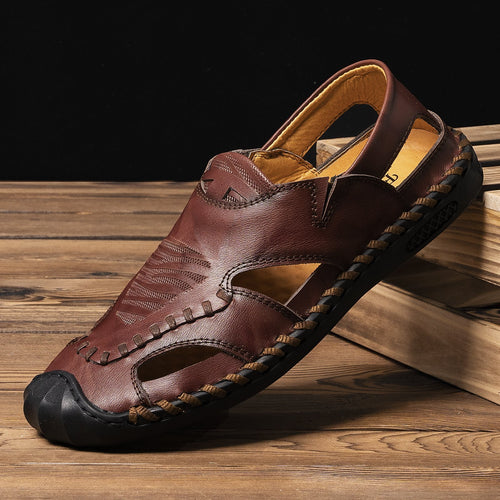 Large Size Mens Closed Toe Sandals Hollow Out Leather Sandals - zonechics
