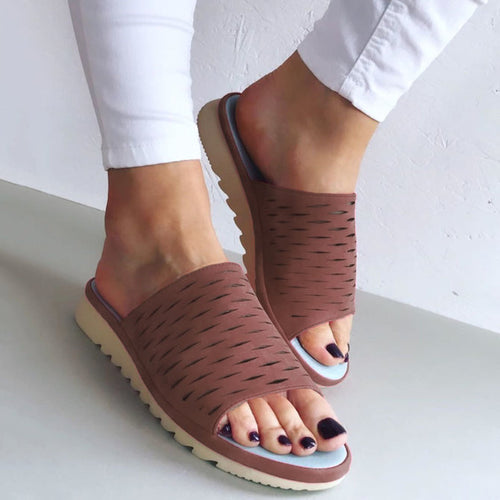 Women Casual Summer Hollow Out Comfy Slip On Sandals - zonechics