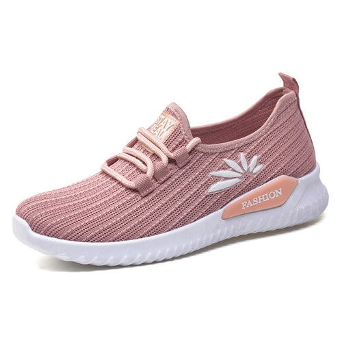 Women Knitting Air Mesh Lace Up Casual Sneakers - zonechics