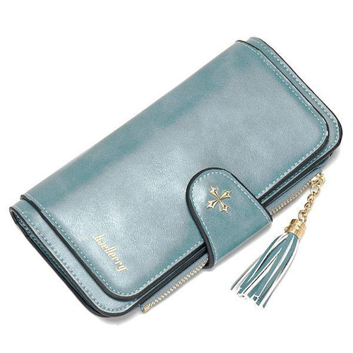 Tassel Design Buckle Large Capacity Long Wallet - zonechics