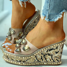 Load image into Gallery viewer, Women Rhinestone Wedge Sandals With Rivet Heeled Slippers - zonechics