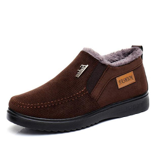 Men Suede Plush Lining Slip On Non-slip Casual Snow Cotton Shoes - zonechics
