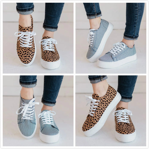 Women Platform Sneakers Large Size Casual Lace Up Shoes - zonechics