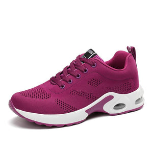 Women Sneakers Breathable Mesh Lace-up Air Cushion Running Shoes - zonechics